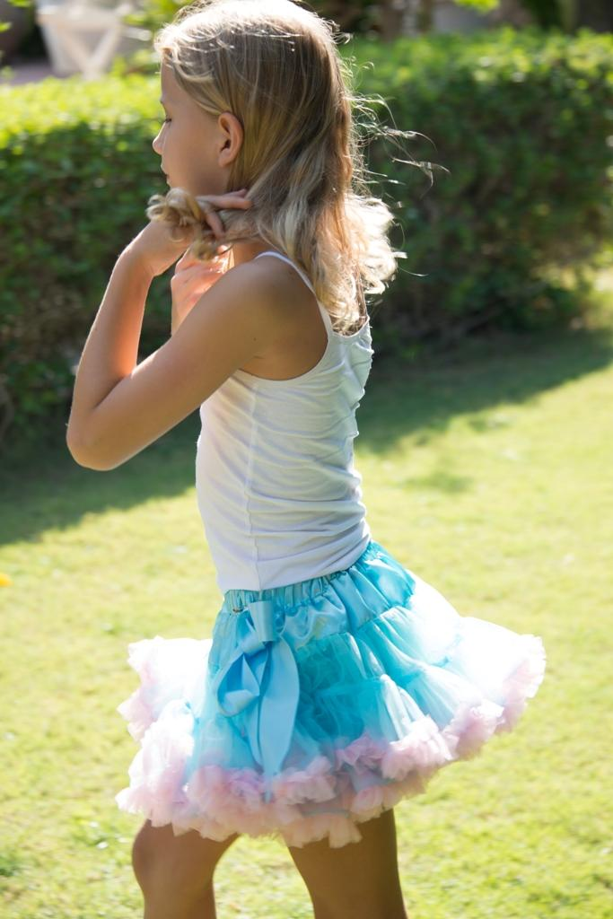 Coochy Coo Tutu- Blue skirt with pink lining