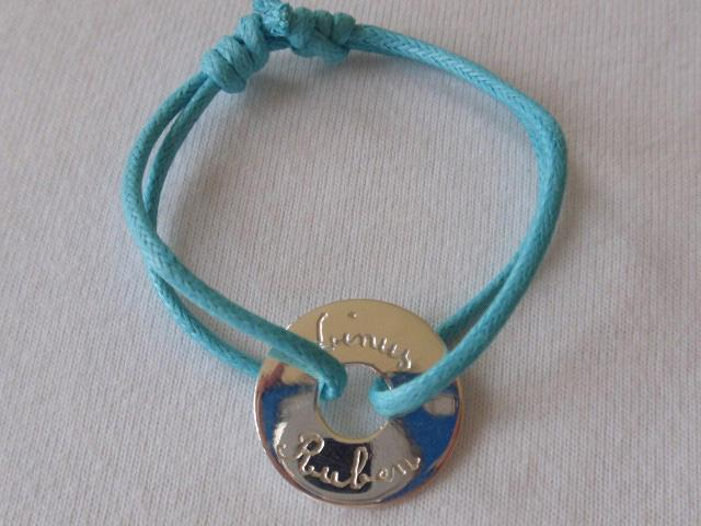 Personalised Bracelet Round disk with a hole