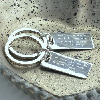 Personalised Rectangular key ring with love message